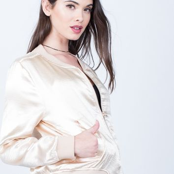 Metallic Satin Bomber