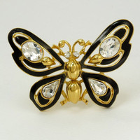 Trifari TM Black Enamel Rhinestone Butterfly Brooch
