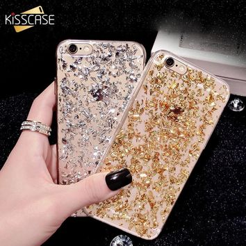 KISSCASE Fashion Gold Glitter Bling Case For iPhone 8 8 Plus X 10 Sequin TPU Silicone Case For iPhone 7 6s Plus 5s SE Back Cover