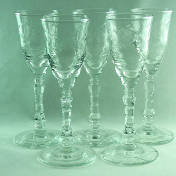 Libbey Rock Sharpe Stemmed Aperitif Glasses Set of 5 Artic Rose Cordial Aperitif Glasses