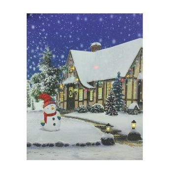 """LED Lighted Christmas Snowman with Decorated Home Canvas Wall Art 19.75"""" x 23.5"""""""