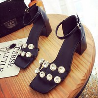 Women thick  pearl summer shoes cutout ankle strap