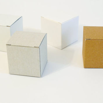 10 White, Gray or Kraft Gift Boxes I Party favor boxes, wedding favors I Cube boxes, square boxes 2.55x2.55x2.55""