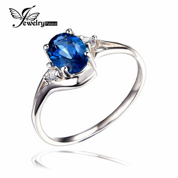 JewelryPalace Oval 0.9ct Natural London Blue Topaz Solitaire Engagement Ring 925 Sterling Silver Gemstone 2016 Trend Accessories