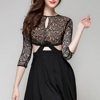 Stylish Lace Hollow Out Mini Dress - OASAP.com