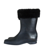 Women Winter Boot Galoshes Rain Boot Women Snow Boot Faux Fur Boot Fur Lined Boot Waterproof Boot Black Boot Size 8 Rubber Galoshes Boot