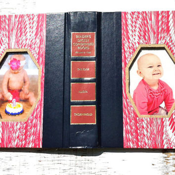 vintage book picture frame. vintage book cover as unique photo frame. pink, fuchsia. Reader's Digest, 1989.