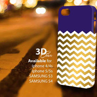 blue and Gold Chevron (ir) 3D iPhone Case for iPhone 4/4S, iPhone 5/5S and,Samsung Galaxy S3, S4
