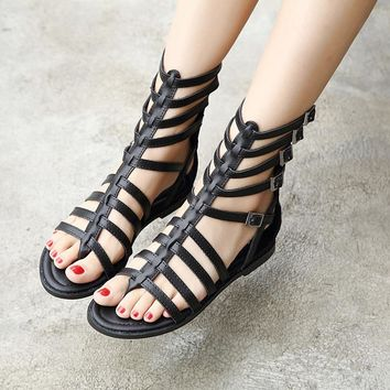 Roman Style Straps Hasp Ankle Length Boots Flat Sandals