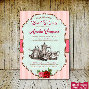 Shabby chic bridal tea invitation, Printable vintage tea party invite card