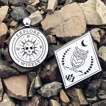 Enamel Pin - Night Owl & Skull Compass Set
