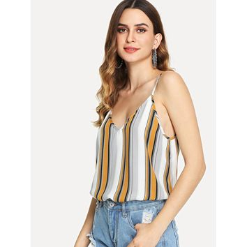 Ginger Double Vneck Striped Cami Top