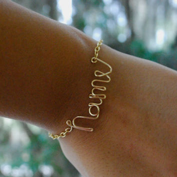 Personalized Name Bracelet - Wire Name Bracelet - Gold Wire Name Bracelet - Personalized Jewelry - Name Jewelry - Wire Word Bracelet