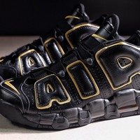 NIKE AIR MORE UPTEMPO BLACK GOLD COLOR