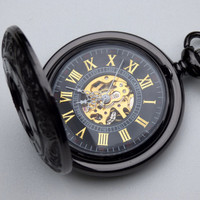 Black Engraved Pocket Watch, Gold Roman Numerals - 17 Jewel Mechanical Watch - Groomsmen Gift - Father of the Bride - Item MPW-08g