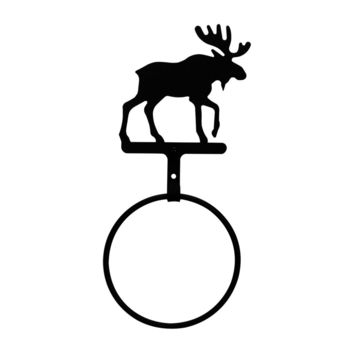 Wrought Iron Moose Towel Ring - Towel Rack