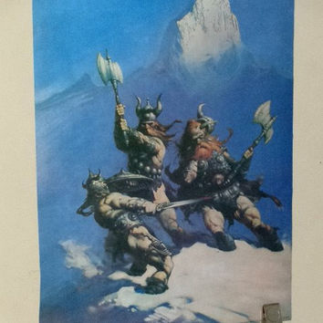 Original 1979 Frank Frazetta 22 3/4 by 17 3/4 inch barbarian warrior ice viking poster 1: Rare vintage 1970's comic book fantasy art pin-up