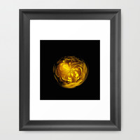 Yellow flower orb on black Framed Art Print by Robert Gipson