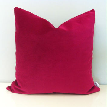 Fuchsia Pink Velvet Pillow Cover, Pink Pillow, Pink Pillows, Pillow Sham, Pink Velvet Cushion Pillow, Home Decor, Couch Throw Pillow Covers