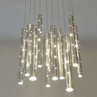 LIGHTING - Chandeliers - Rain Aluminium Flute LED Chandelier by Ilan El