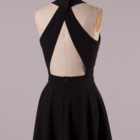 Black Open Back Party Dress
