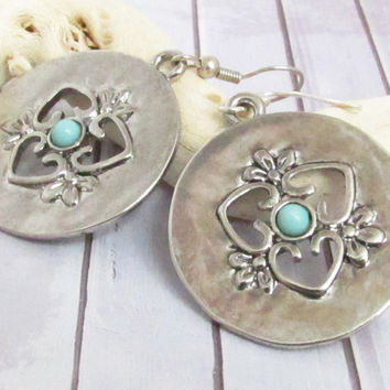 Silver Disc Earrings, Dangle Earrings, Gypsy Earrings, Boho Earrings, Bohemian Earrings, Large Dangle Earrings