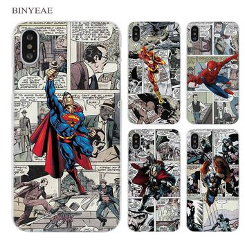 BINYEAE Luxury Comics flash bat super iron man Clear Cell Phone Case Cover for Apple iPhone X 6 6s 7 8 Plus 4 4s 5 5s SE 5c