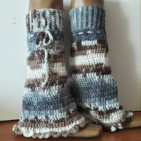 Boho Leg Warmers Knit Long Legwarmers  Flare Crochet Boot Toppers Hippie Style Fashion Accessories Women Men Baby Toddler Teen to Adult