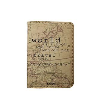 The World Is A Book World Map [Name Customized] Leather Passport Holder - Leather Passport Cover - Travel Accessory- Travel Wallet for Women and Men_SCORPIOshop