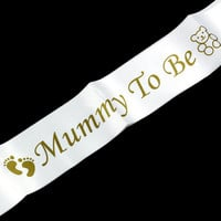 Footprint Bear Mummy To Be Satin Ribbon Sash New Mom Baby Shower Party Favor