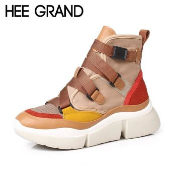 HEE GRAND 2018 New Women Fashion Boots with Buckle Winter Shoes PU Leather Ankle Boots Mujer Shoes XWD6853