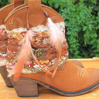 Tan handmade leather cowboy boots US size 9