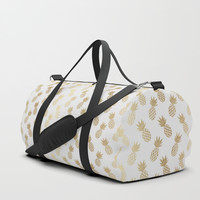 Gold Pineapple Pattern Duffle Bag by Tanyadraws