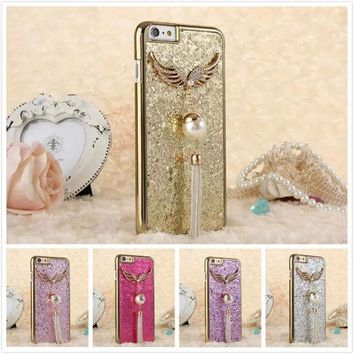 Bling Women Tassel Pendant Sparkle Cell Phone Cases For Apple Iphone 6 6s Plus 5.5inch Beauty Rhinestone Wings Pearl Back Cover