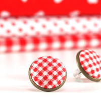 Red Gingham Stud Earrings - Earring Studs - Red and White Fabric Covered Buttons Earrings Posts Jewelry