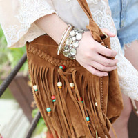 Boho Faux Leather Cross Body Bag