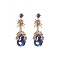 Pieces Womens Dark Blue Fanua Gem Detail Earrings