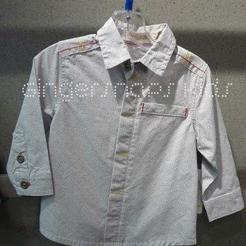 Deux Par Deux Boys Grey Super 8 Button Down Shirt (sz 6mo-4)