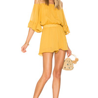 Endless Rose Ruffled Sleeve Romper in Honey Yellow | REVOLVE