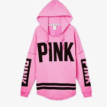 """Pink"" Victoria's Secret Letter Print Zipper Sweatshirt Cardigan Jacket Coat"