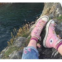 Converse high top leisure fashion men and women sports shoes F Pink