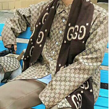 GUCCI Coat Jacket Trending Women Men Print  Long Sleeve Cardigan B/I11523-1 Khaki