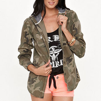 LA Hearts Hooded Camo Shirt Jacket at PacSun.com
