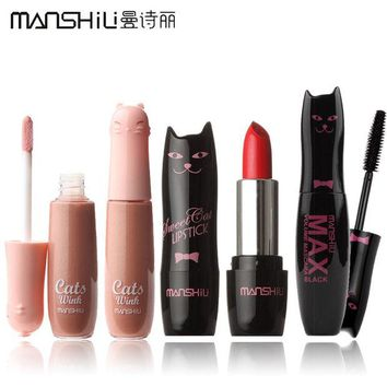 DCCKL3Z NEW! 1Set=3Pcs 3 Styles MANSHILI Cat Series Makeup Set Lipstick and Lip Gloss and Mascara #MAO001