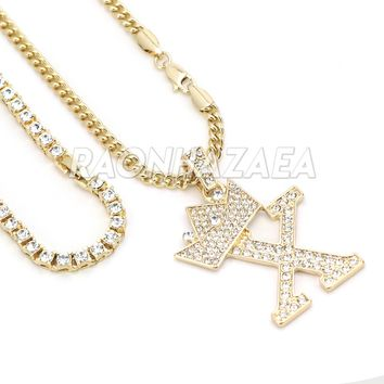 Iced Out Crown X Initial Pendant Necklace Set