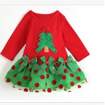 children's girl Christmas tree Polka Dot long-sleeved T-shirt  clothes for Christmas