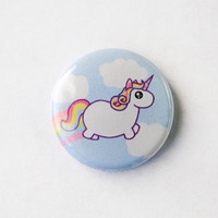 Rainbow Chubby Unicorn 1 Pinback Button by DorkyDino on Etsy