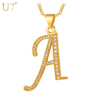 U7 Brand Alphabet A Letter Pendant Necklace Women Fashion Jewelry Gift Silver/Gold Color Cubic Zirconia Crystal Necklace P694