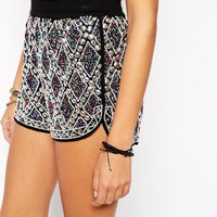 ASOS Festival Beaded Shorts with Heavy Beaded Embellishment