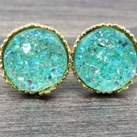 Ab Mint faux druzy in Crown stud earrings (you pick setting tone)